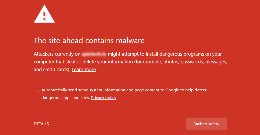 sample google malware notice