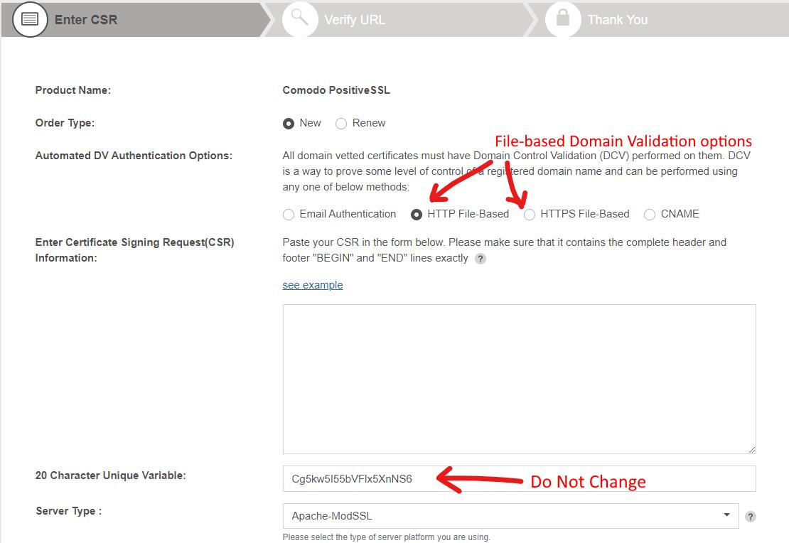 File-based Domain Validation Options