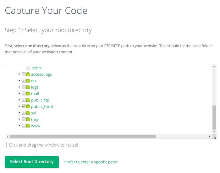 codeguard add website folders
