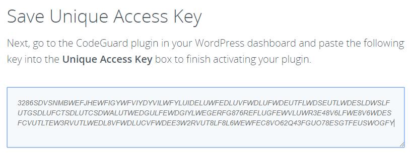 codeguard wordpress plugin special access key